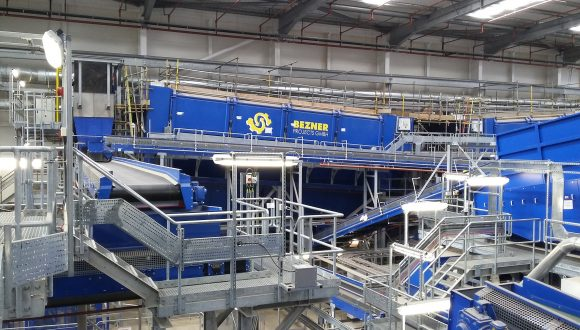 sorting plant for waste screening drum